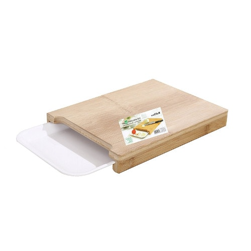 anti-microbial cutting board with plastic tray