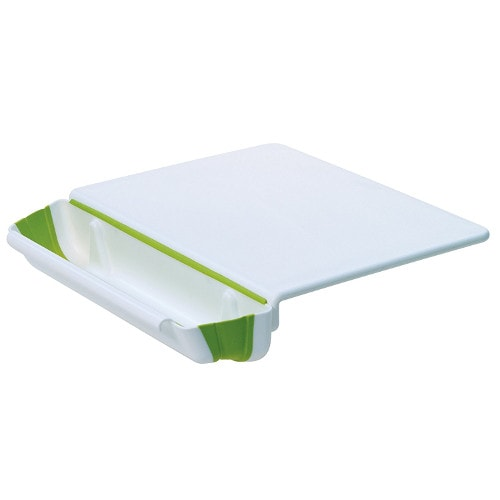 plastic cutting board with scrap bin